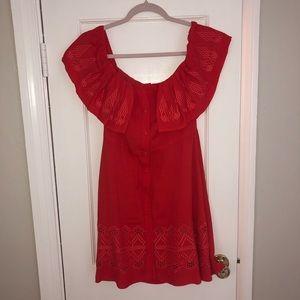 Coral/Red Off Shoulder Dress